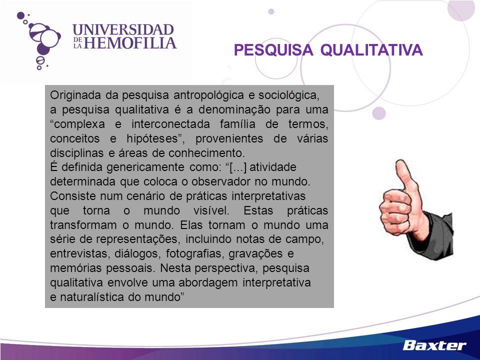 PESQUISA QUALITATIVA Originada da pesquisa antropológica e sociológica,