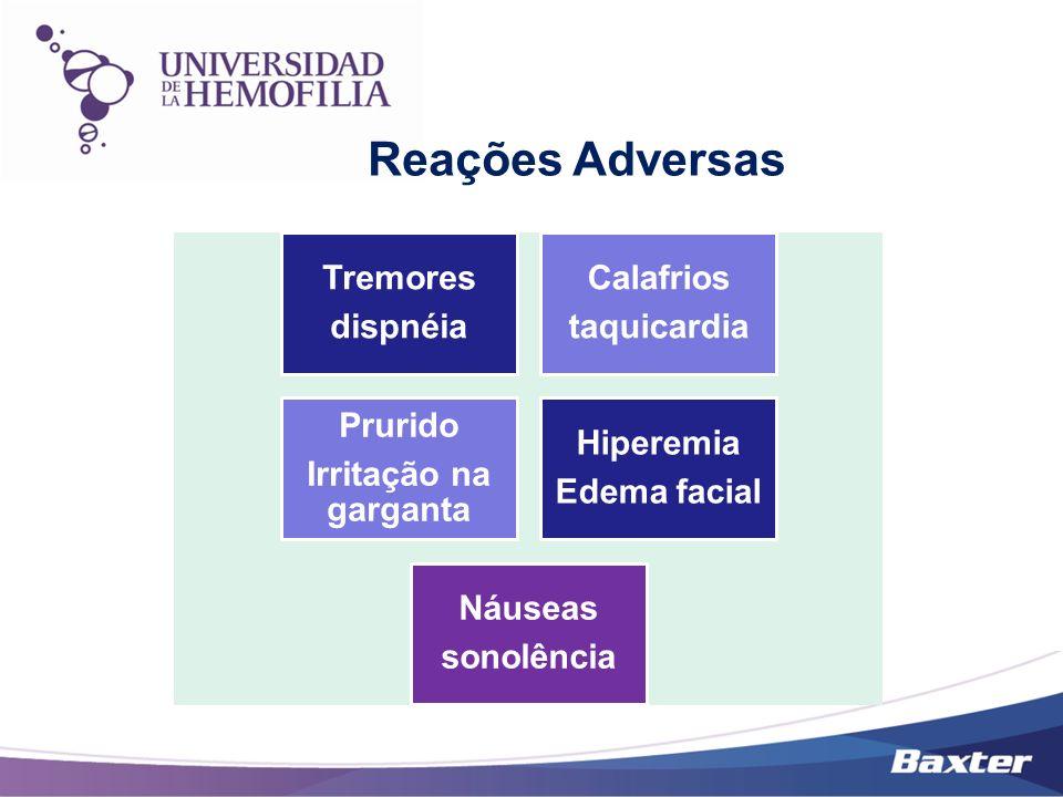 Reações Adversas dispnéia Tremores taquicardia Calafrios