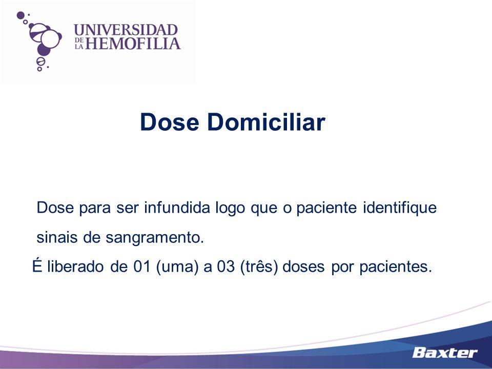 Dose Domiciliar Dose para ser infundida logo que o paciente identifique. sinais de sangramento.