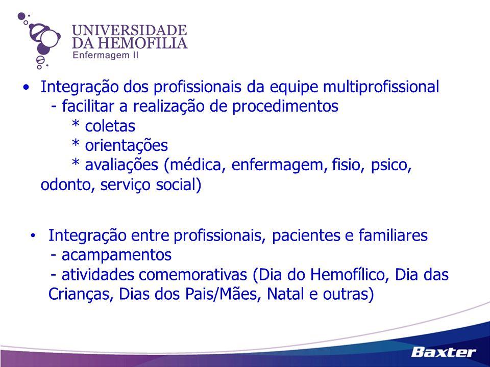 Integração dos profissionais da equipe multiprofissional - facilitar a realização de procedimentos * coletas * orientações * avaliações (médica, enfermagem, fisio, psico, odonto, serviço social)