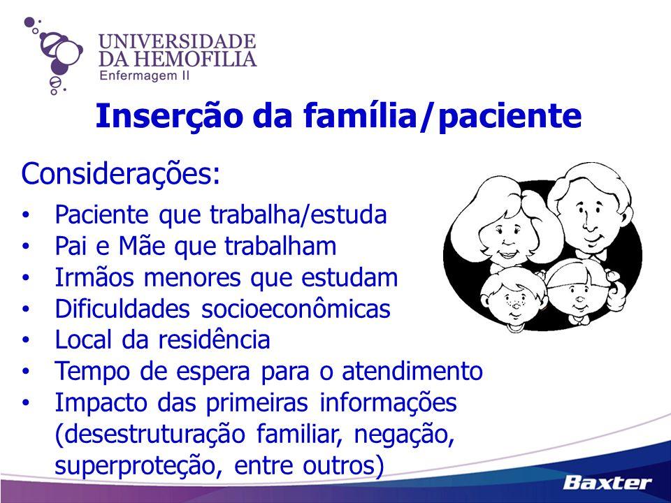 Inserção da família/paciente