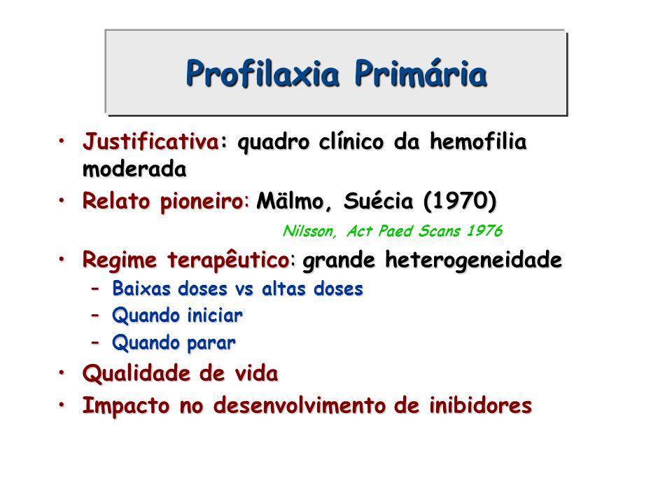 Profilaxia Primária Justificativa: quadro clínico da hemofilia moderada. Relato pioneiro: Mälmo, Suécia (1970)