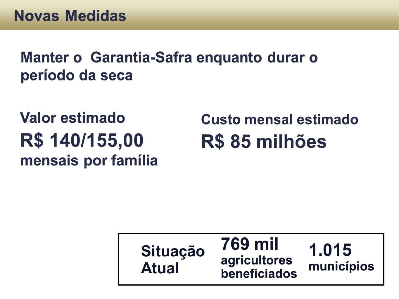R$ 140/155,00 mensais por família R$ 85 milhões