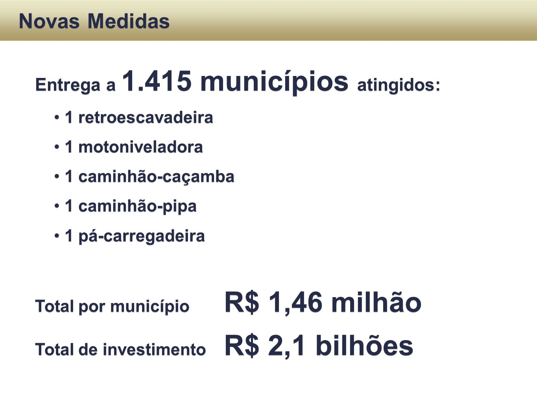 Novas Medidas Entrega a 1.415 municípios atingidos: 1 retroescavadeira