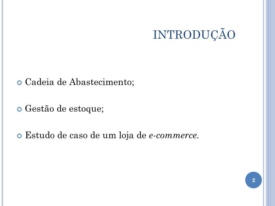 INTRODUÇÃO Cadeia de Abastecimento; Gestão de estoque;