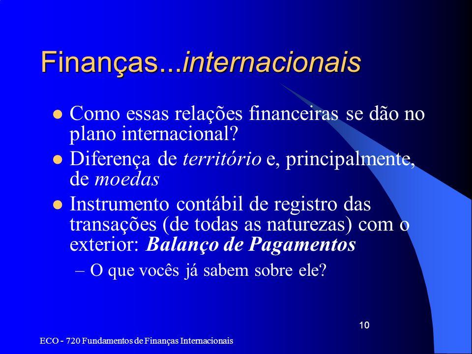 Finanças...internacionais