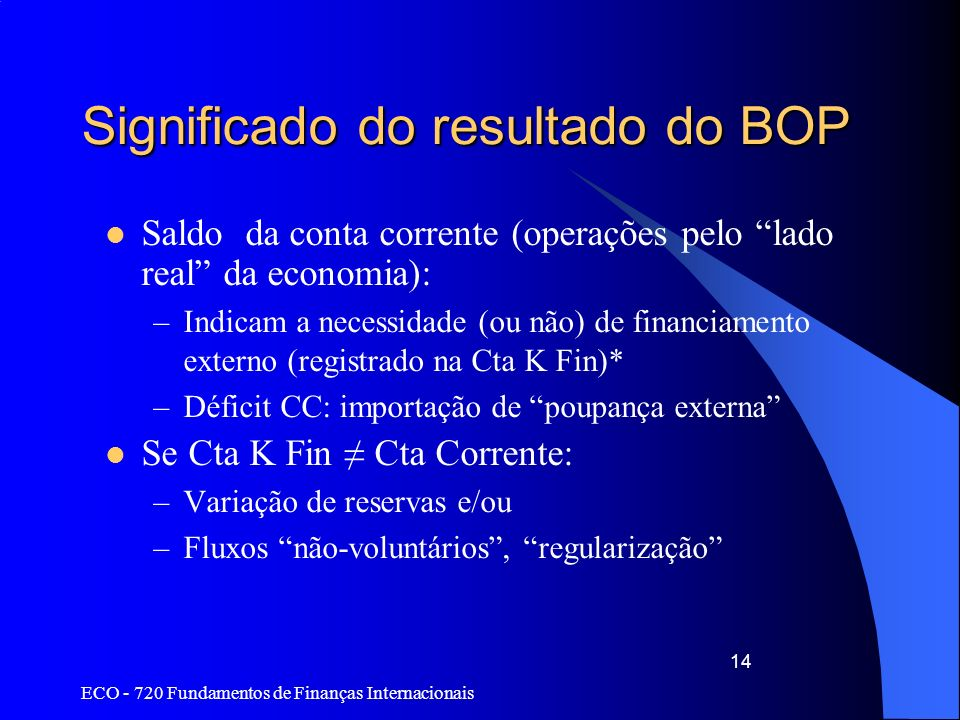 Significado do resultado do BOP
