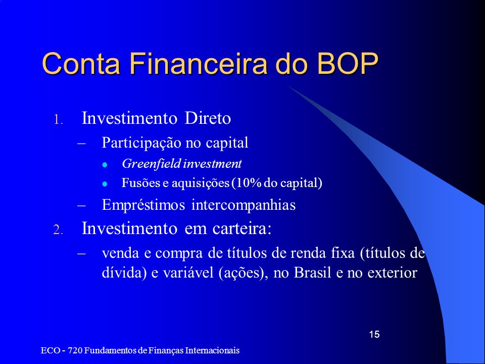 Conta Financeira do BOP