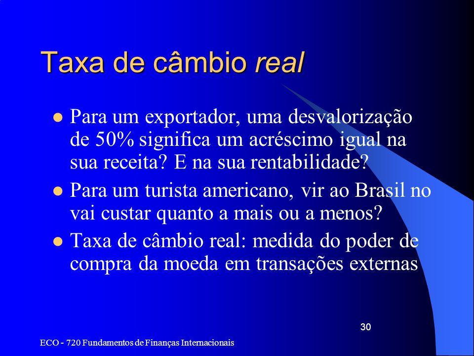 Taxa de câmbio real Para um exportador, uma desvalorização de 50% significa um acréscimo igual na sua receita E na sua rentabilidade