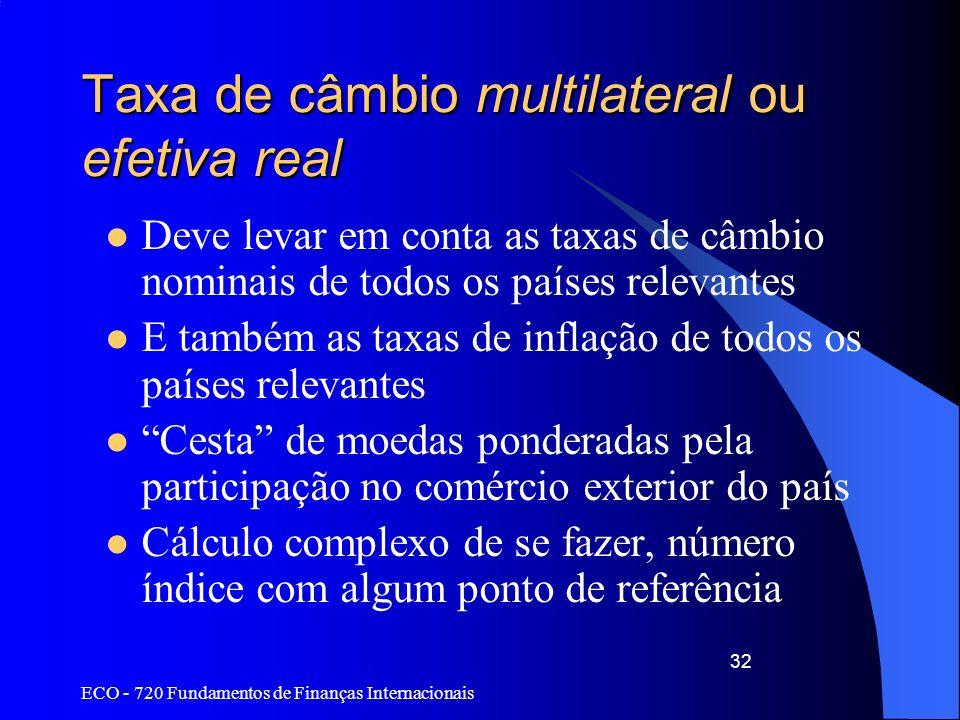 Taxa de câmbio multilateral ou efetiva real