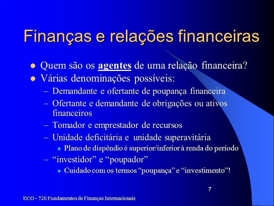 Finanças e relações financeiras