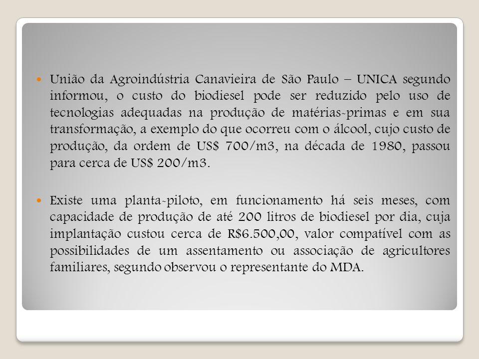 União da Agroindústria Canavieira de São Paulo – UNICA segundo informou, o custo do biodiesel pode ser reduzido pelo uso de tecnologias adequadas na produção de matérias-primas e em sua transformação, a exemplo do que ocorreu com o álcool, cujo custo de produção, da ordem de US$ 700/m3, na década de 1980, passou para cerca de US$ 200/m3.