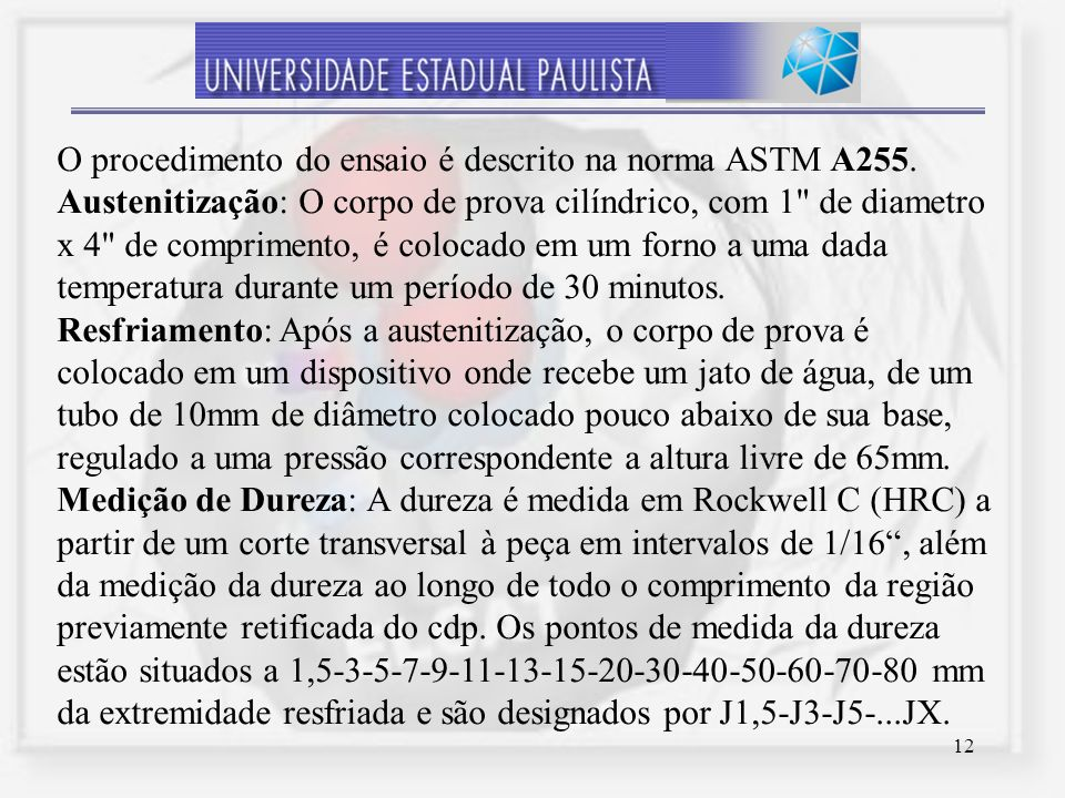 O procedimento do ensaio é descrito na norma ASTM A255.