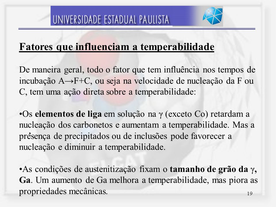 Fatores que influenciam a temperabilidade