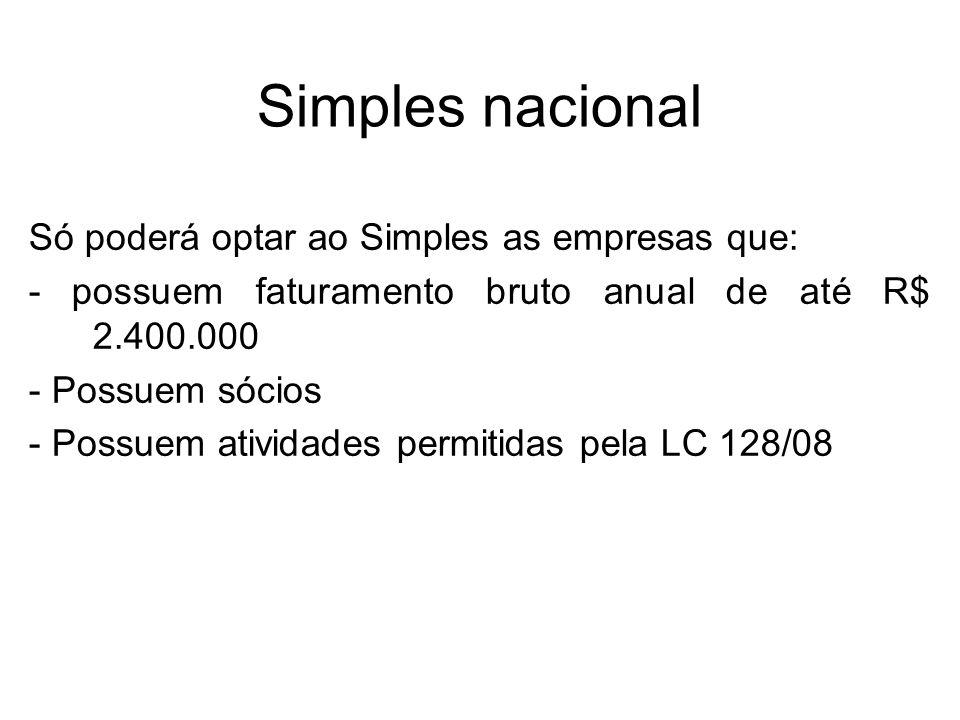 Simples nacional Só poderá optar ao Simples as empresas que: