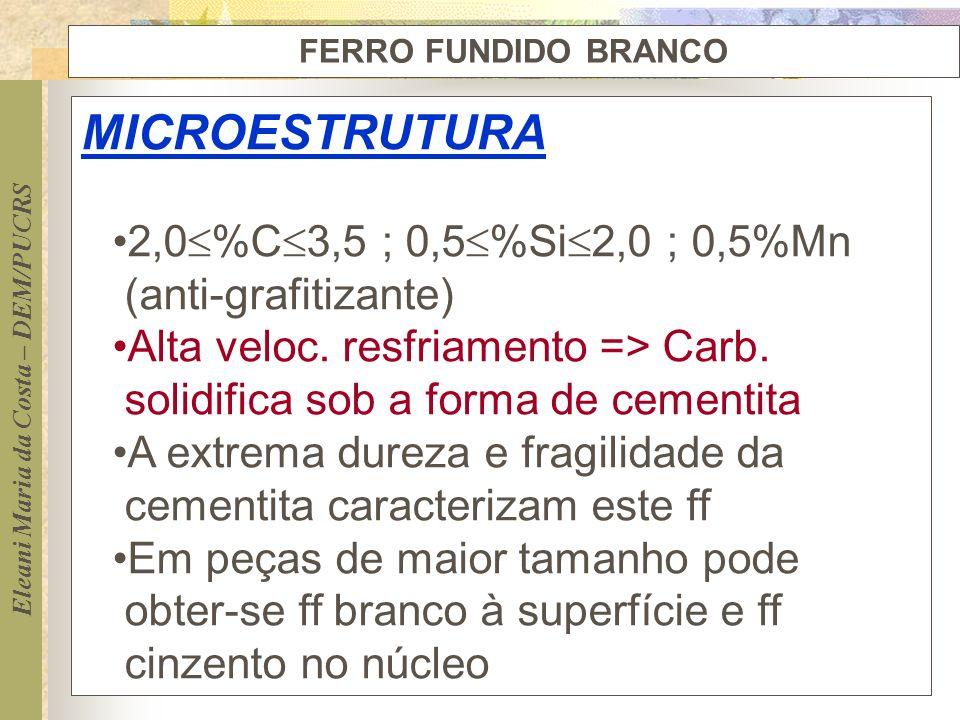 MICROESTRUTURA 2,0%C3,5 ; 0,5%Si2,0 ; 0,5%Mn (anti-grafitizante)