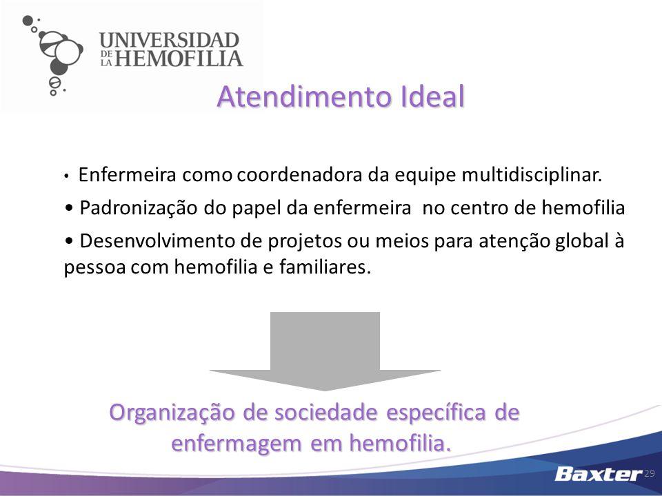 Organização de sociedade específica de enfermagem em hemofilia.