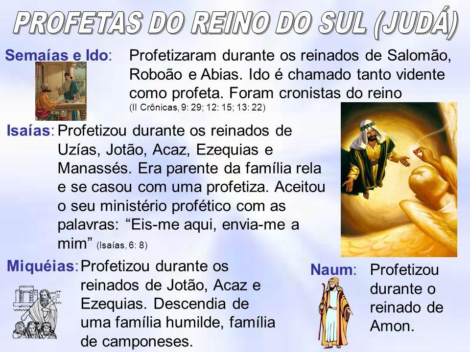 PROFETAS DO REINO DO SUL (JUDÁ)