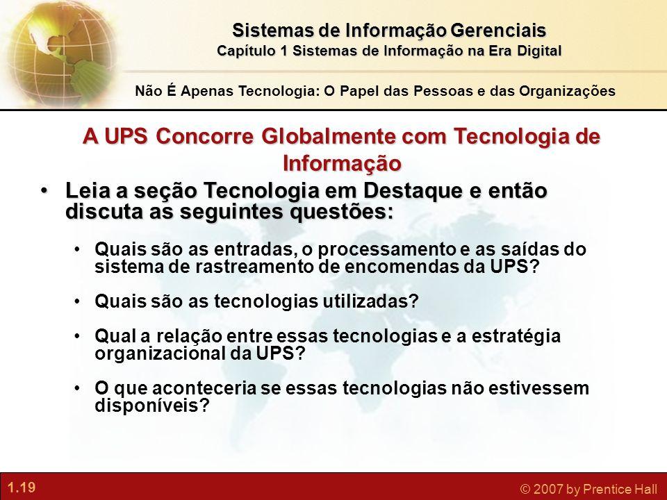 A UPS Concorre Globalmente com Tecnologia de Informação