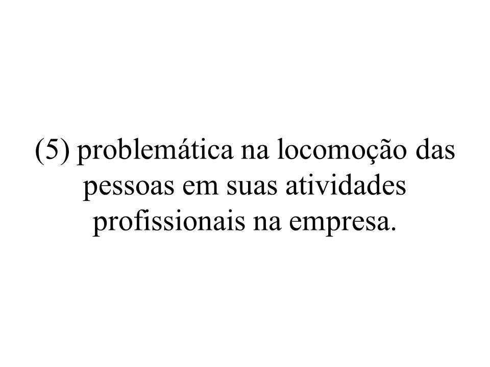 (5) problemática na locomoção das pessoas em suas atividades profissionais na empresa.