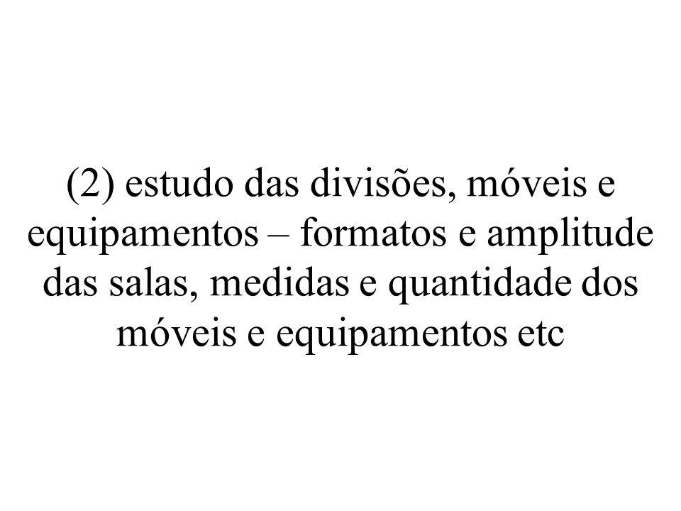(2) estudo das divisões, móveis e equipamentos – formatos e amplitude das salas, medidas e quantidade dos móveis e equipamentos etc