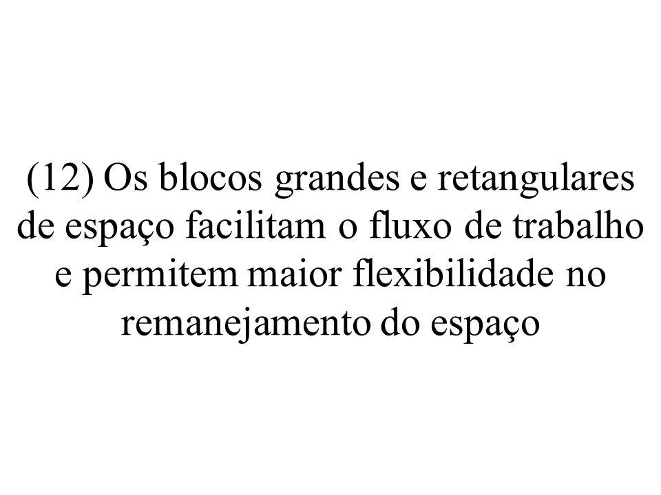 (12) Os blocos grandes e retangulares de espaço facilitam o fluxo de trabalho e permitem maior flexibilidade no remanejamento do espaço