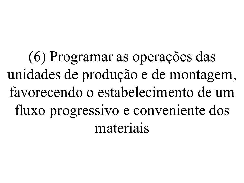 (6) Programar as operações das unidades de produção e de montagem, favorecendo o estabelecimento de um fluxo progressivo e conveniente dos materiais