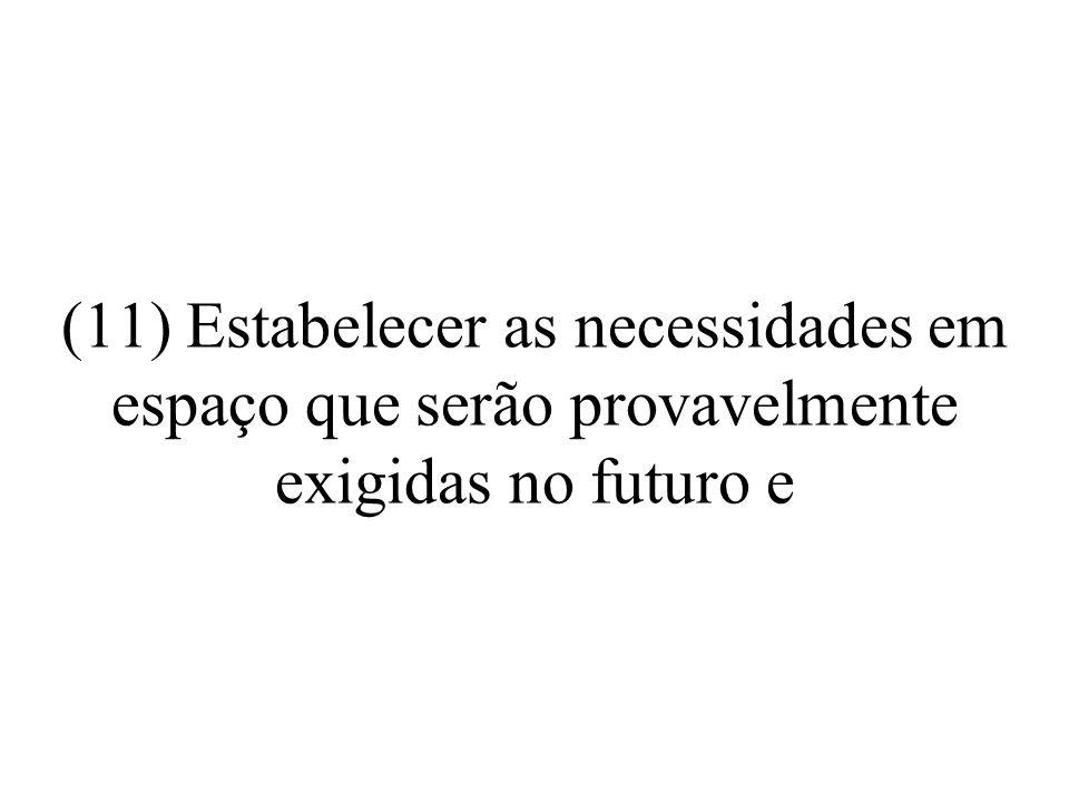 (11) Estabelecer as necessidades em espaço que serão provavelmente exigidas no futuro e