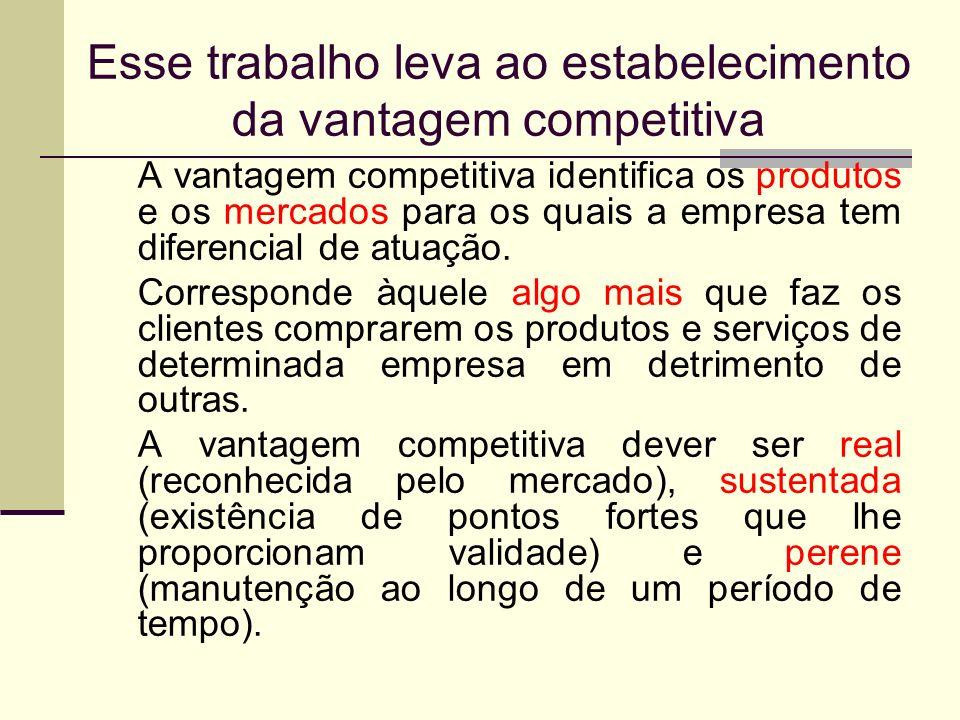 Esse trabalho leva ao estabelecimento da vantagem competitiva