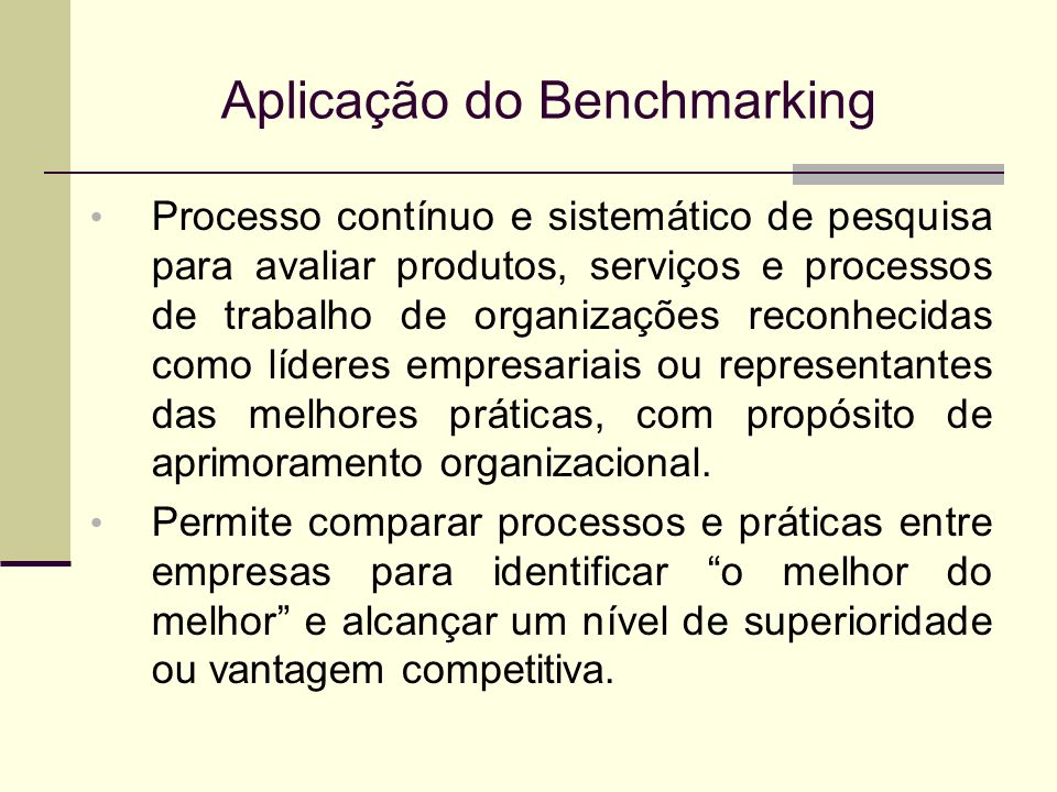 Aplicação do Benchmarking