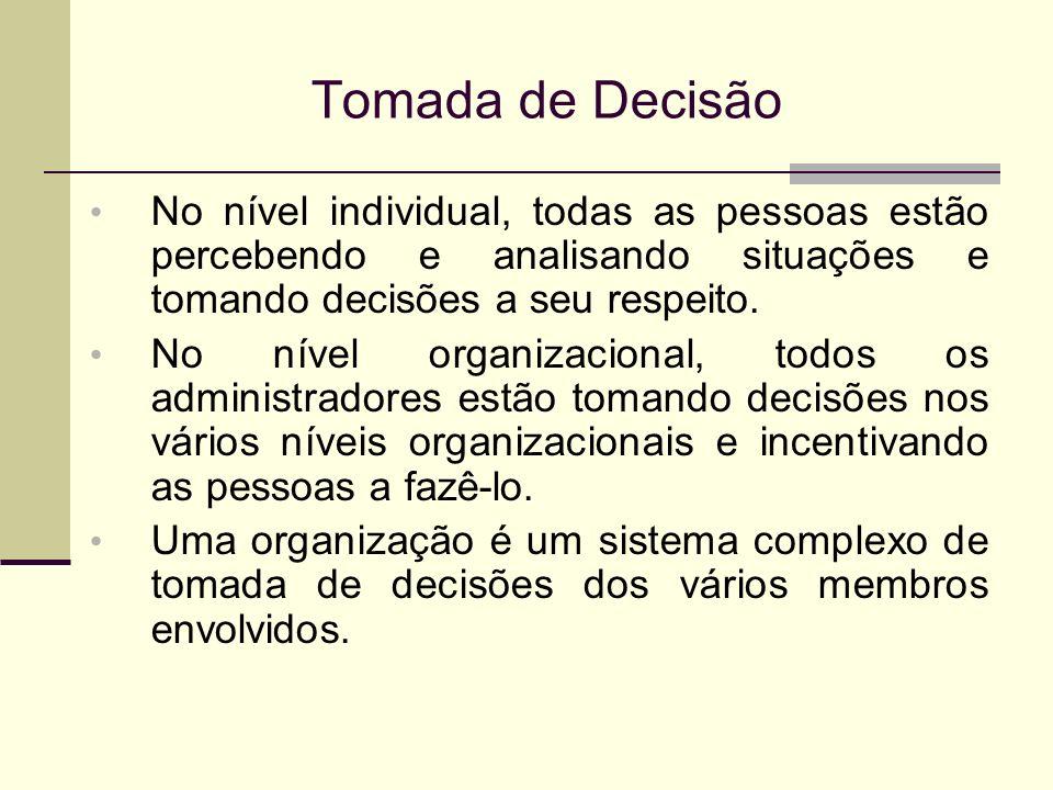 Tomada de Decisão No nível individual, todas as pessoas estão percebendo e analisando situações e tomando decisões a seu respeito.