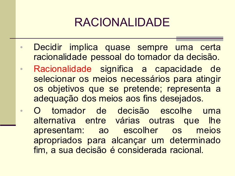 RACIONALIDADE Decidir implica quase sempre uma certa racionalidade pessoal do tomador da decisão.