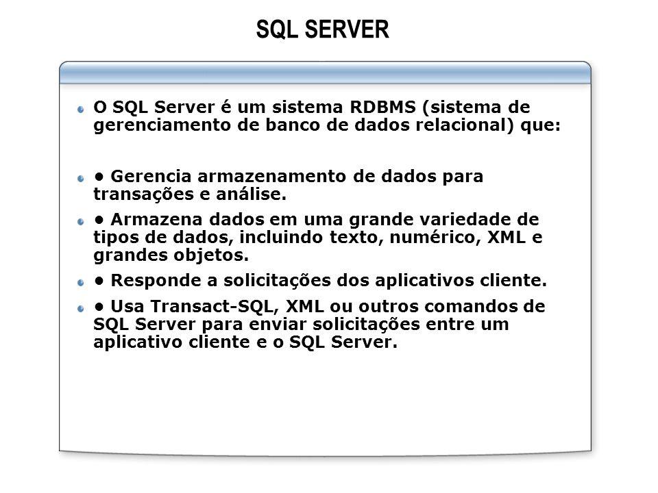 ‹cabeçalho› SQL SERVER. ‹data/hora› O SQL Server é um sistema RDBMS (sistema de gerenciamento de banco de dados relacional) que: