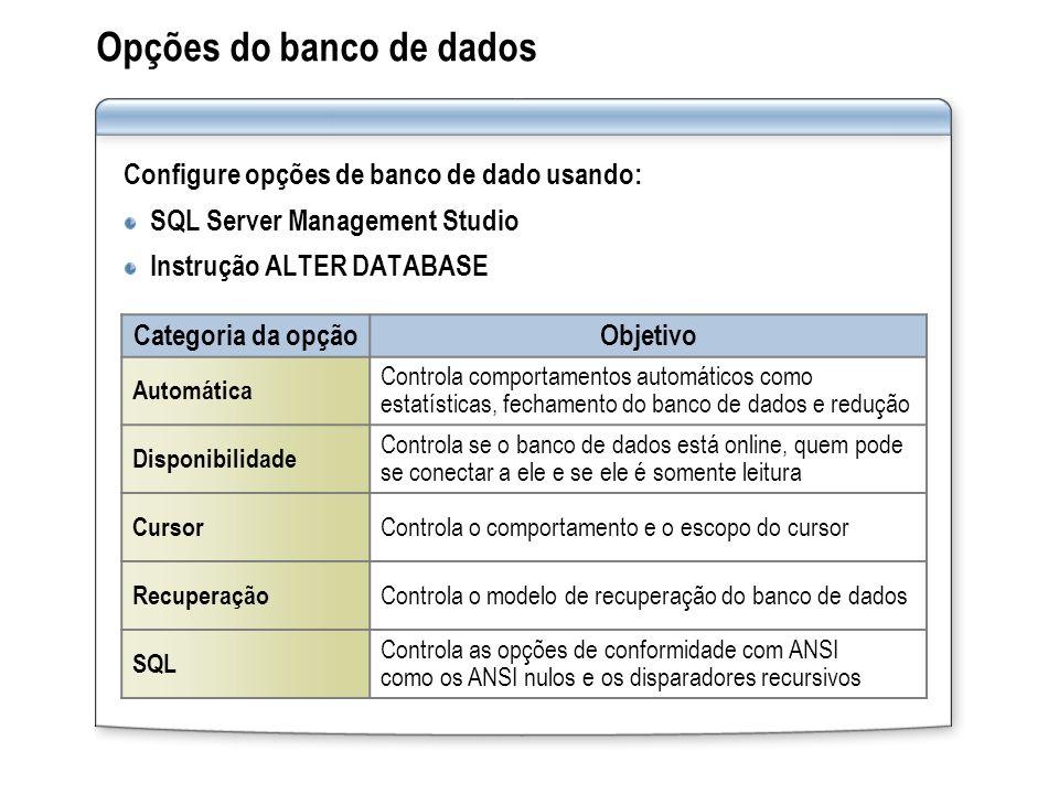 Opções do banco de dados