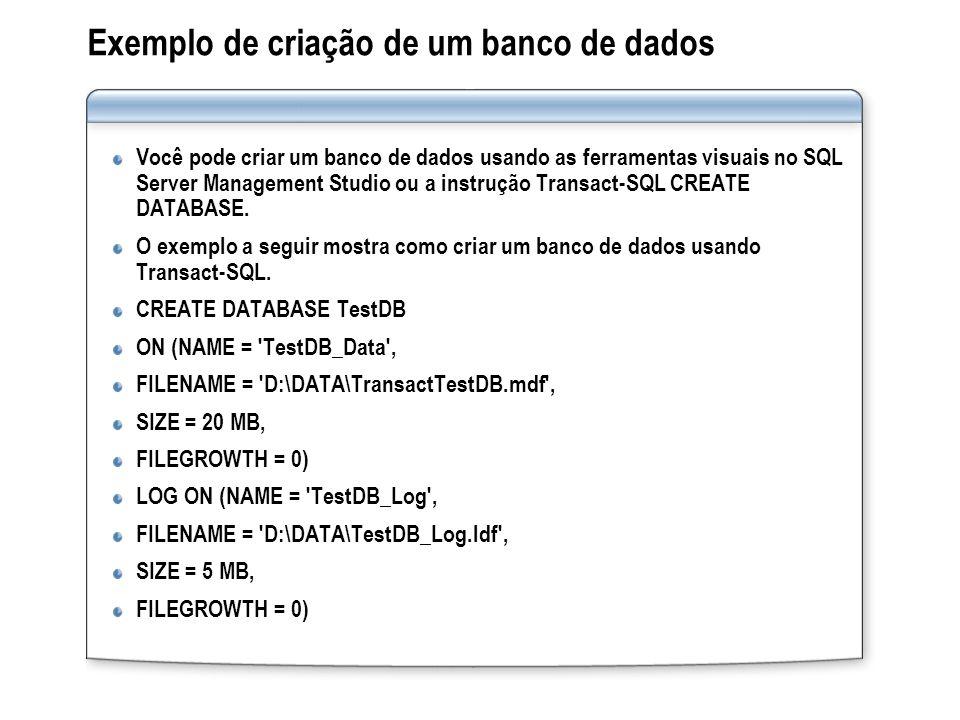 Exemplo de criação de um banco de dados