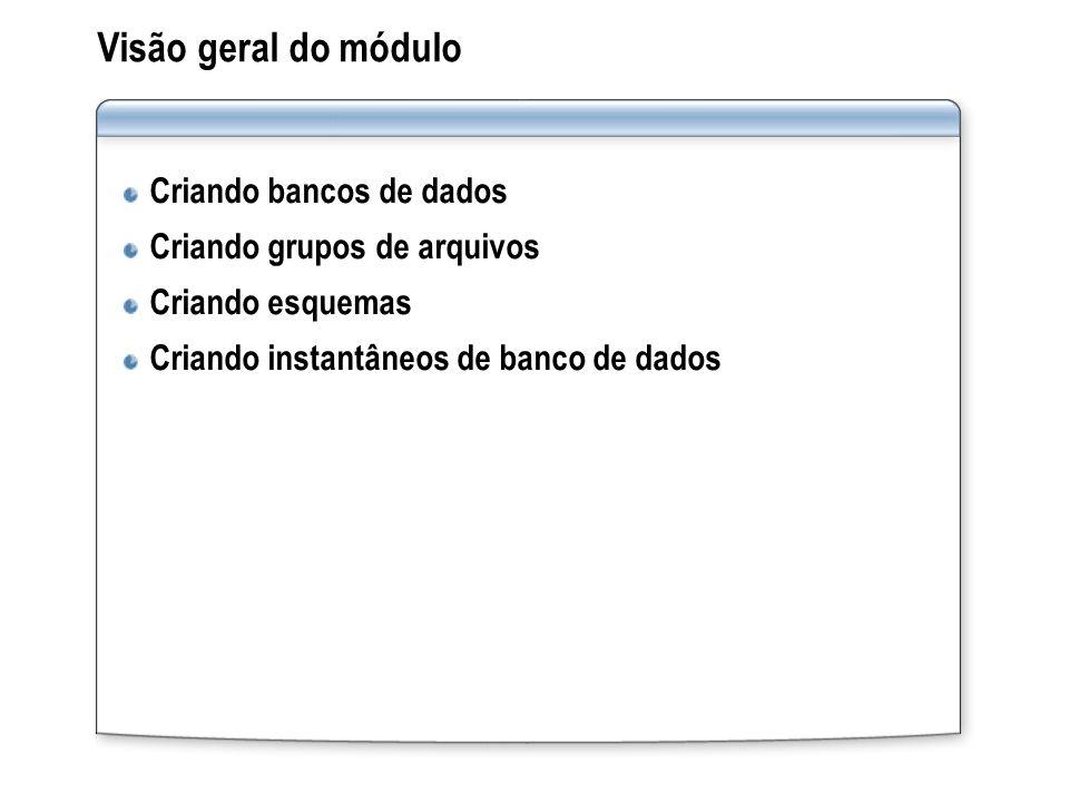 Visão geral do módulo Criando bancos de dados