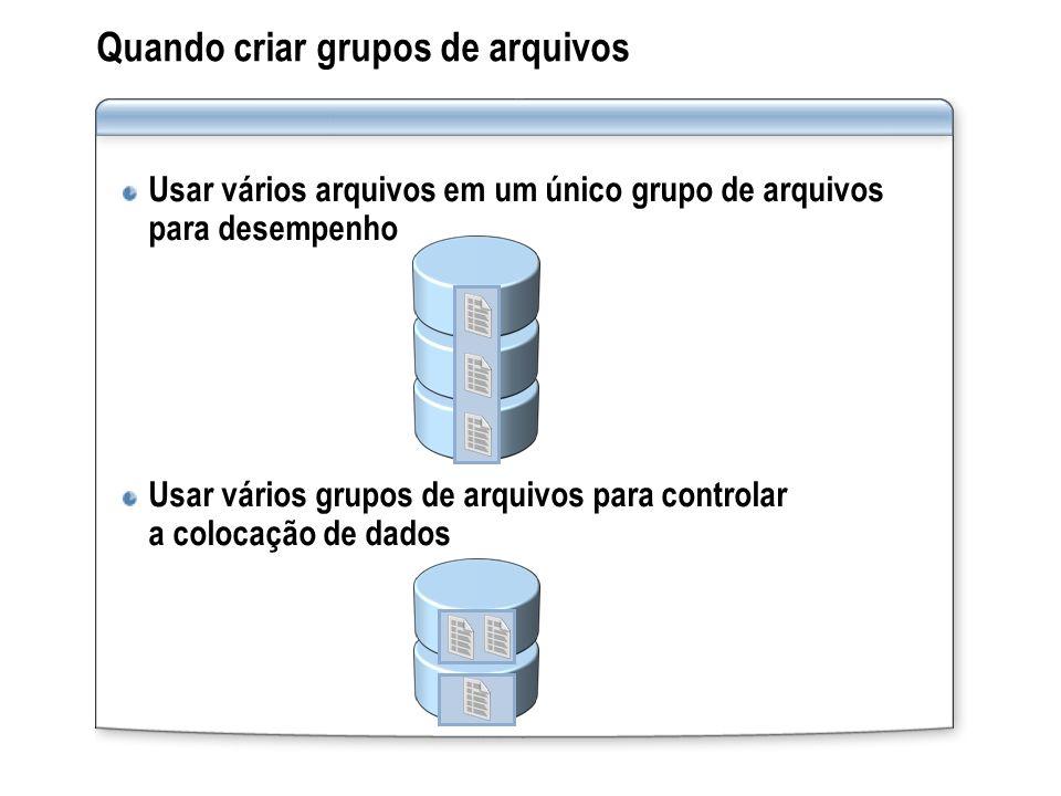Quando criar grupos de arquivos
