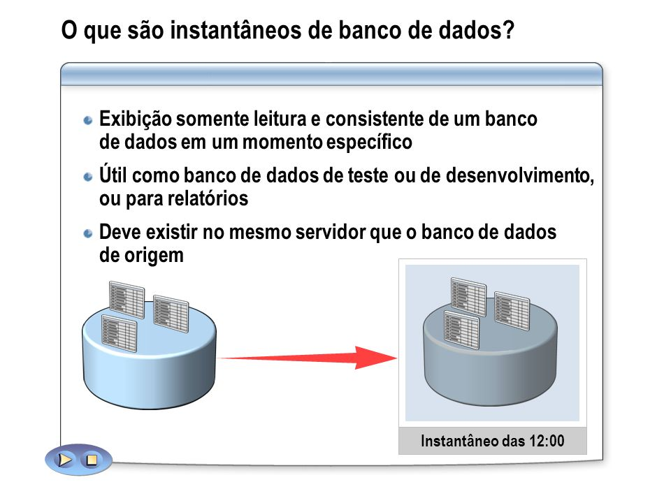 O que são instantâneos de banco de dados