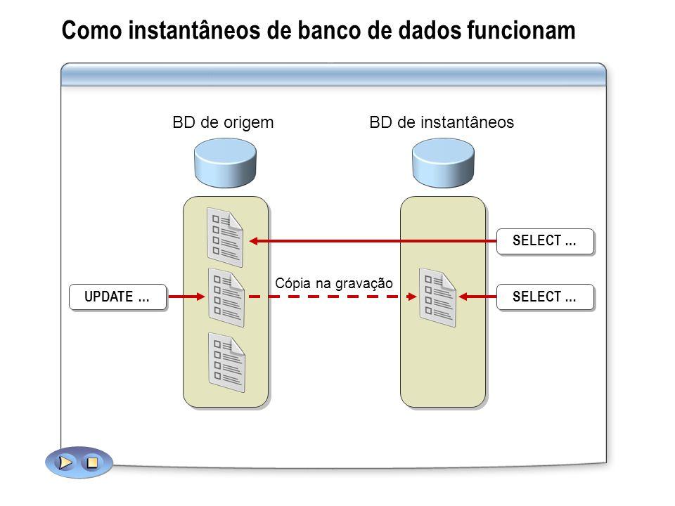 Como instantâneos de banco de dados funcionam