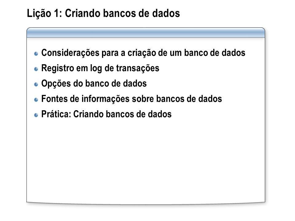 Lição 1: Criando bancos de dados