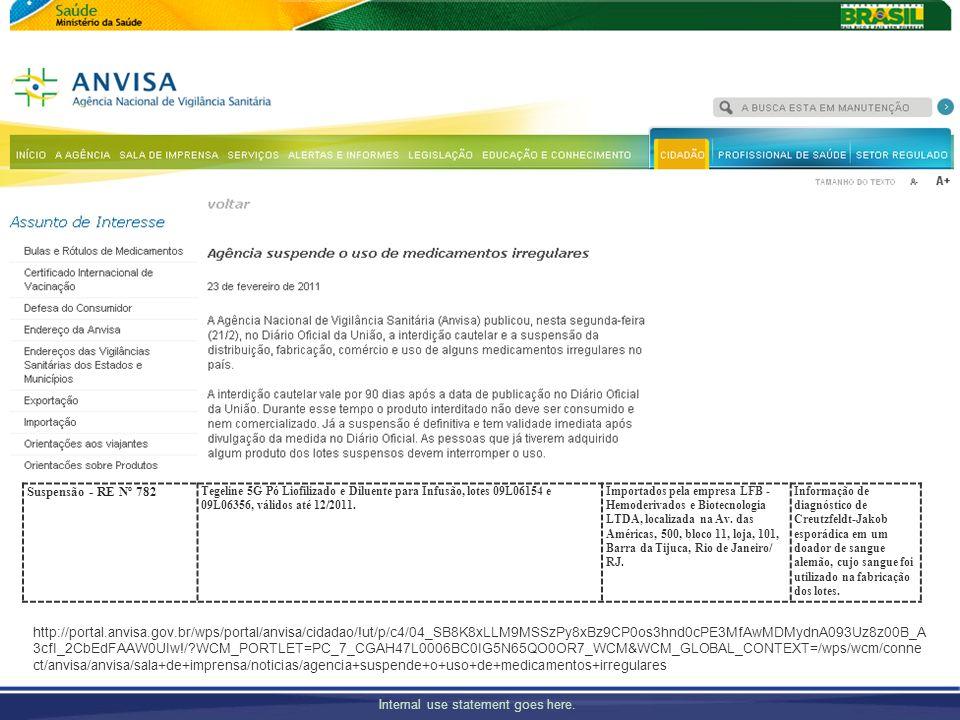 Suspensão - RE Nº 782Tegeline 5G Pó Liofilizado e Diluente para Infusão, lotes 09L06154 e 09L06356, válidos até 12/2011.