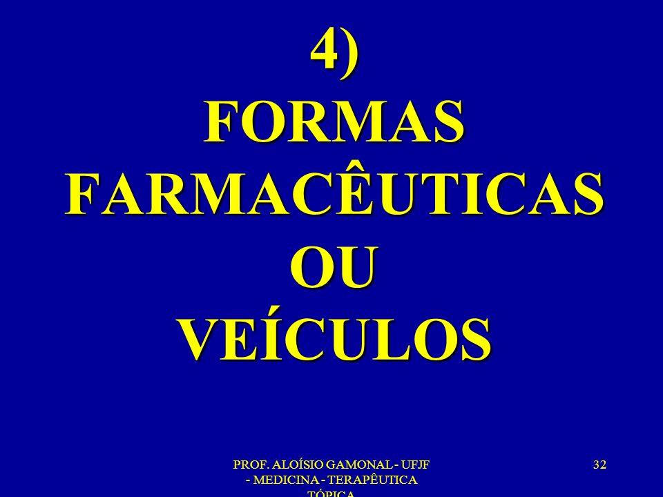 4) FORMAS FARMACÊUTICAS OU VEÍCULOS