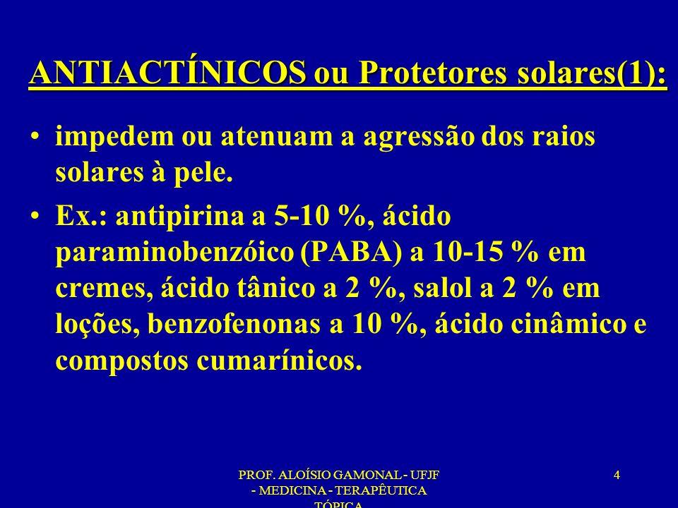 ANTIACTÍNICOS ou Protetores solares(1):