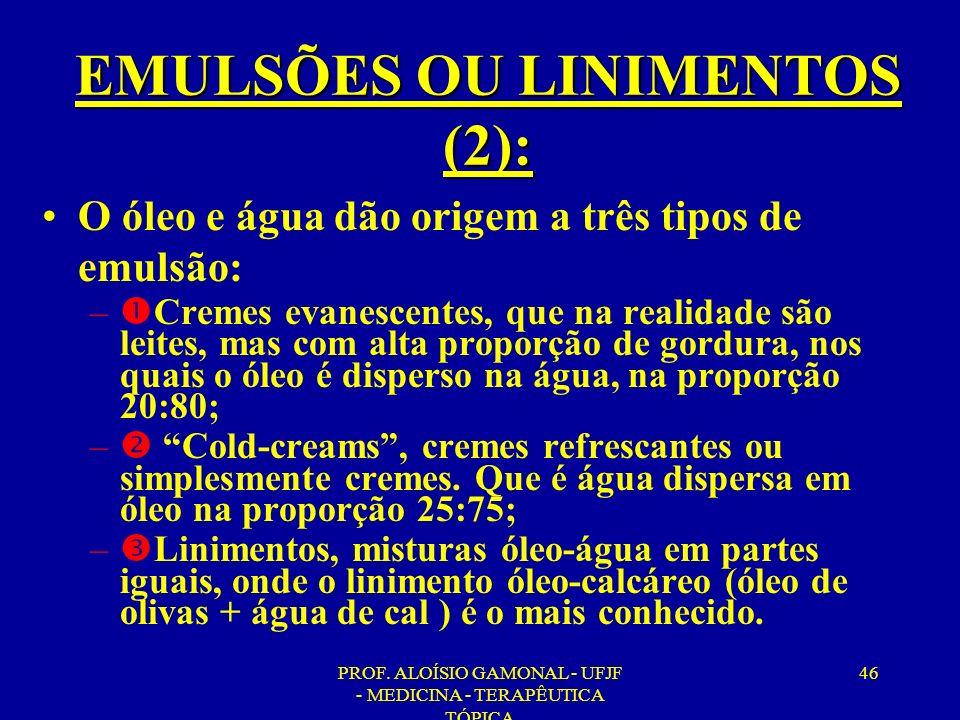 EMULSÕES OU LINIMENTOS (2):