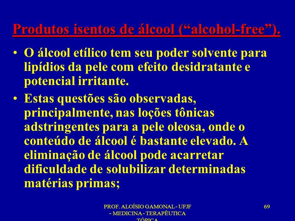Produtos isentos de álcool ( alcohol-free ).