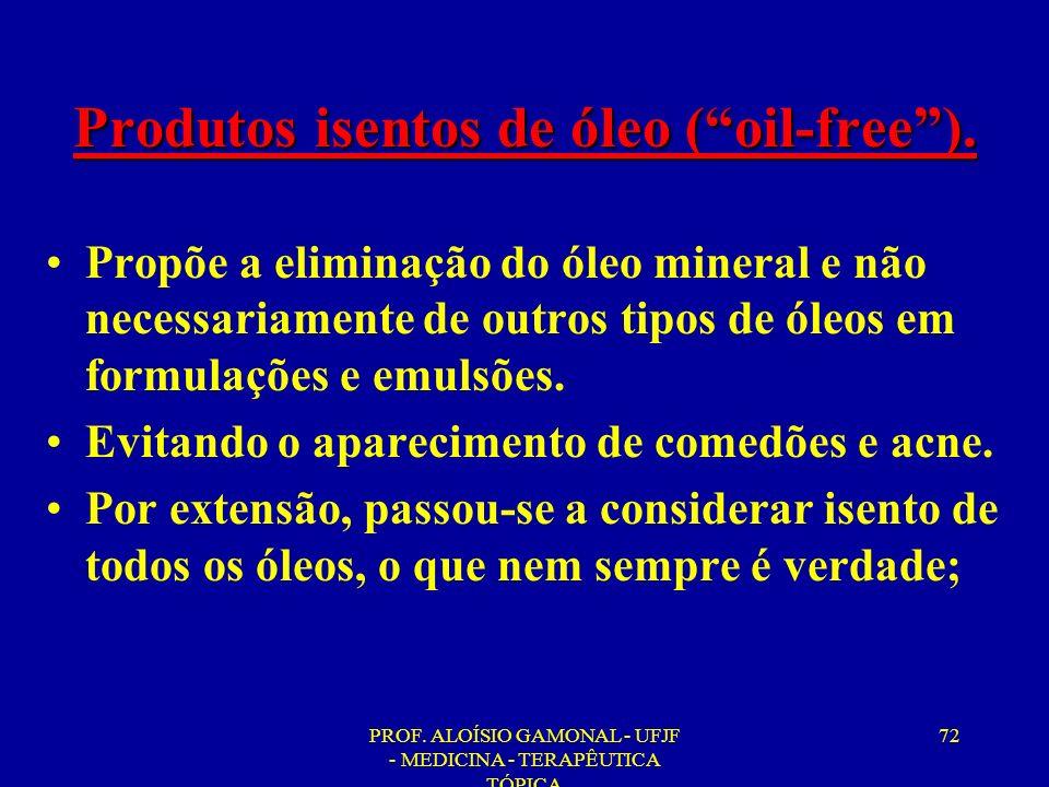 Produtos isentos de óleo ( oil-free ).
