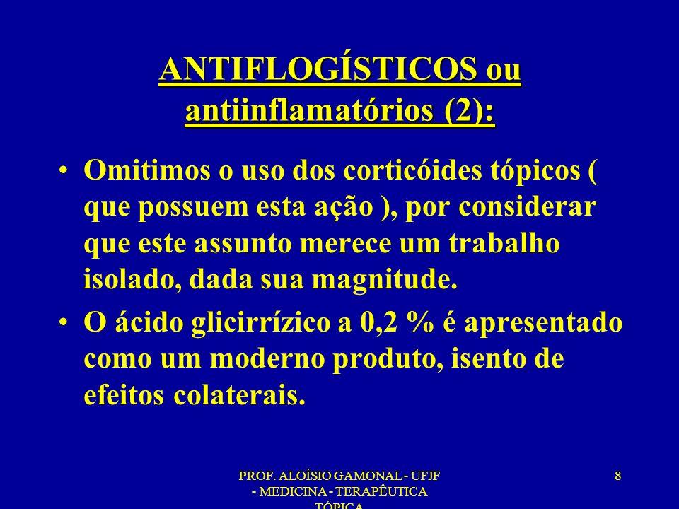 ANTIFLOGÍSTICOS ou antiinflamatórios (2):