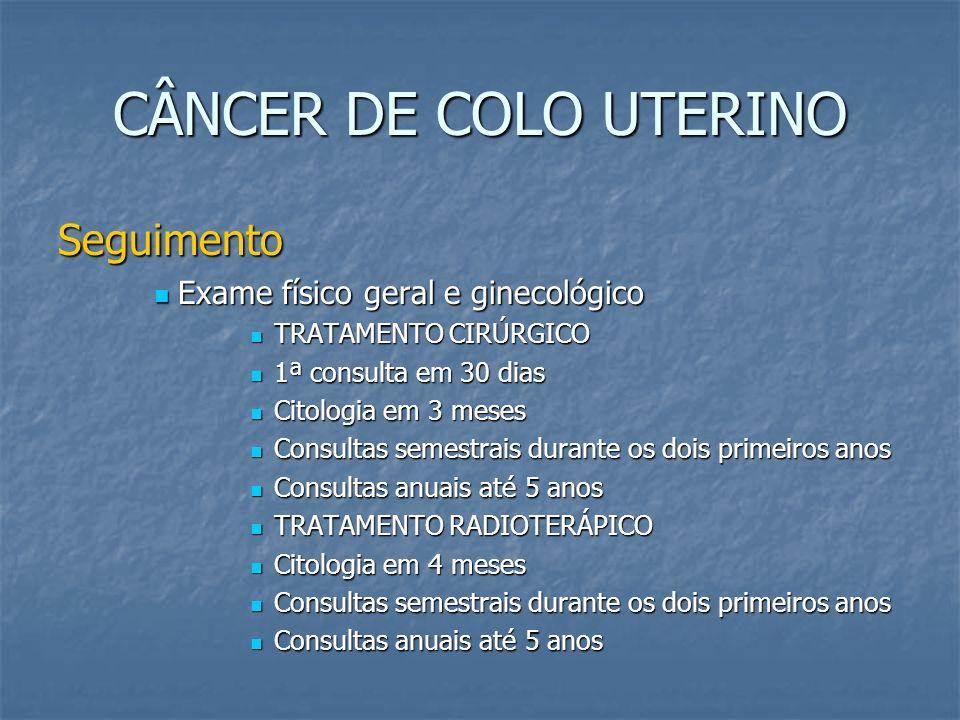 CÂNCER DE COLO UTERINO Seguimento Exame físico geral e ginecológico