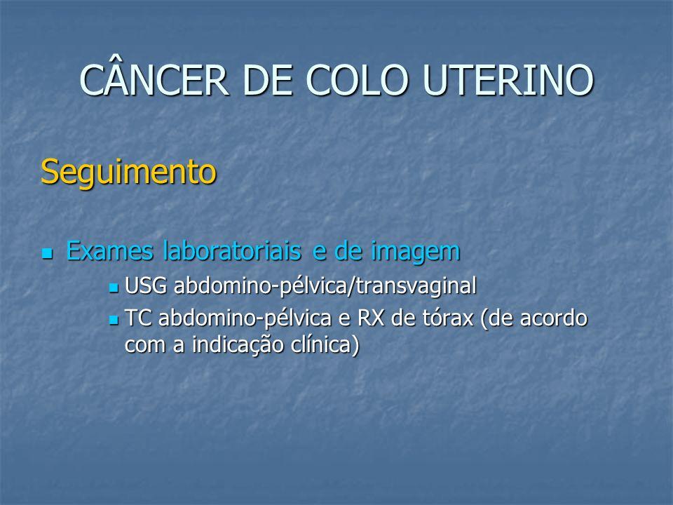 CÂNCER DE COLO UTERINO Seguimento Exames laboratoriais e de imagem