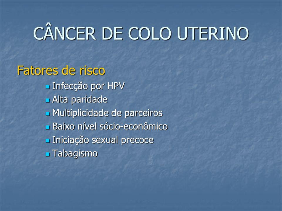 CÂNCER DE COLO UTERINO Fatores de risco Infecção por HPV Alta paridade